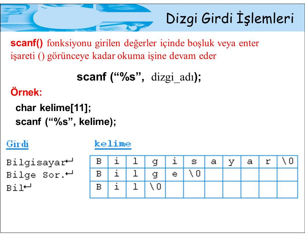 Dizgi Girdi İşlemleri char kelime[11]; scanf ( %7s , kelime); Girdi kelime ProgramlamaProgram\0 Prog.Prog\0