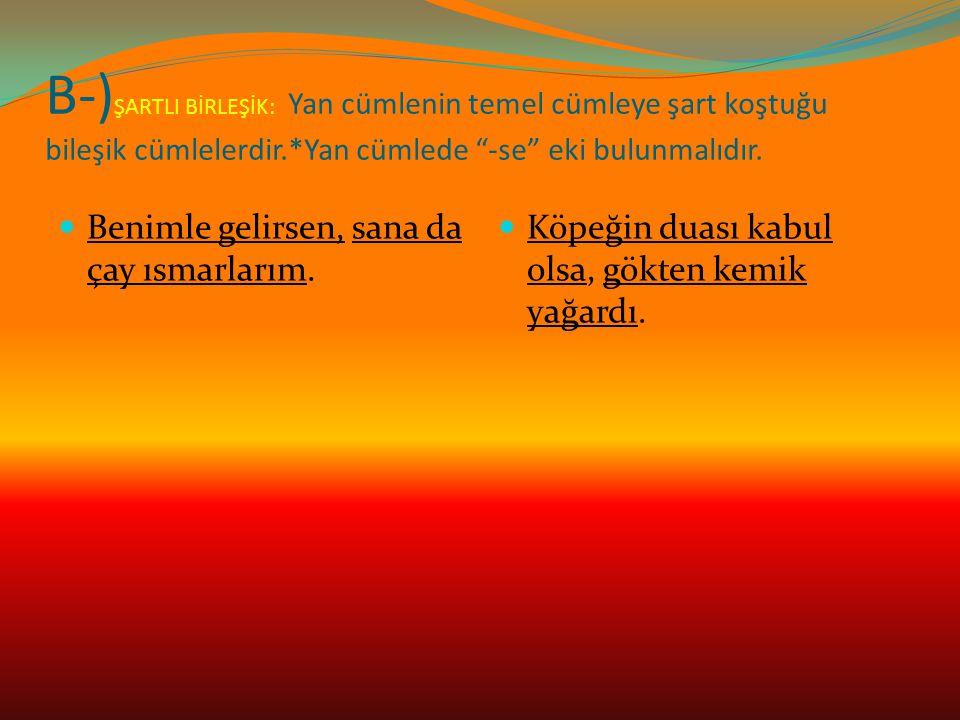 B-) ŞARTLI BİRLEŞİK: Yan cümlenin temel cümleye şart koştuğu bileşik cümlelerdir.*Yan cümlede -se eki bulunmalıdır.