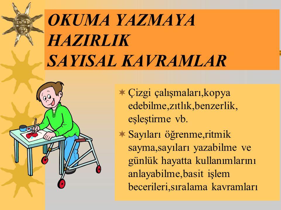 Türkçe –Dil Gelişimi;  Belli konularda üniteler takip edilerek çocukların çevreleri ve insan yaşamı hakkında bilgi sahibi olmaları ve gözlem yetenekl