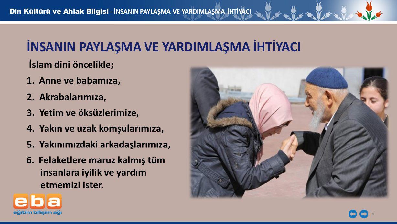 5 - İNSANIN PAYLAŞMA VE YARDIMLAŞMA İHTİYACI İNSANIN PAYLAŞMA VE YARDIMLAŞMA İHTİYACI İslam dini öncelikle; 1.Anne ve babamıza, 2. Akrabalarımıza, 3.