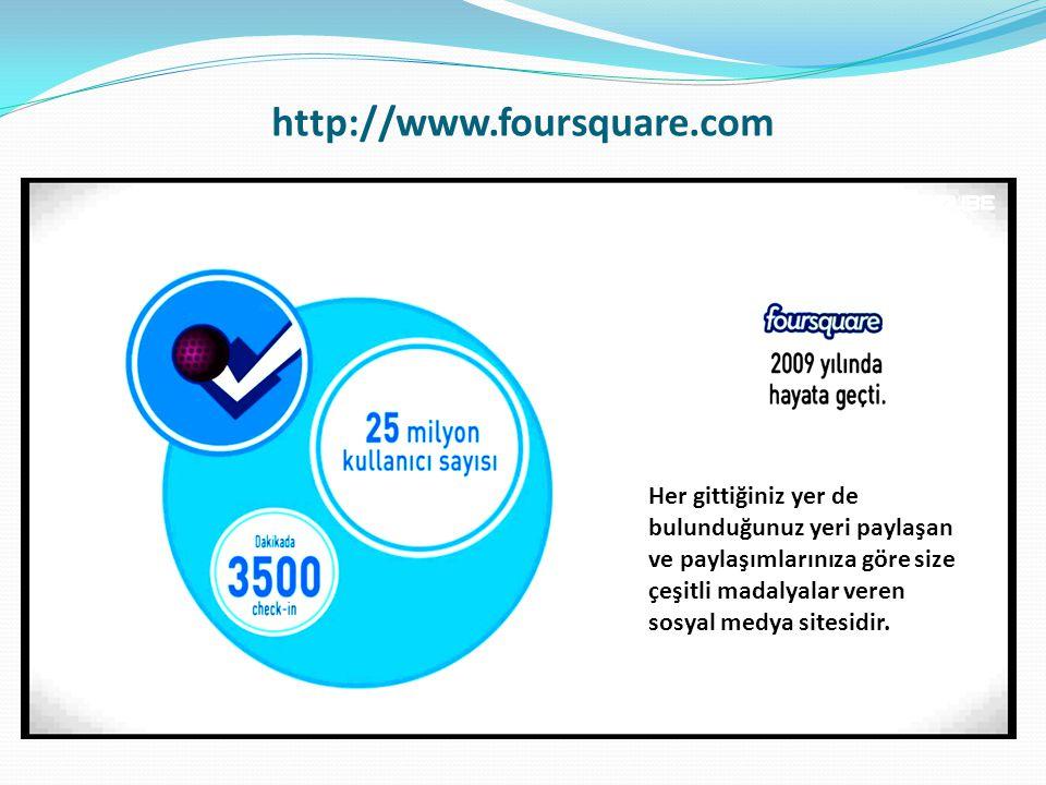 http://www.foursquare.com Her gittiğiniz yer de bulunduğunuz yeri paylaşan ve paylaşımlarınıza göre size çeşitli madalyalar veren sosyal medya sitesidir.