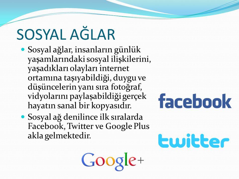 SOSYAL AĞLAR Sosyal ağlar, insanların günlük yaşamlarındaki sosyal ilişkilerini, yaşadıkları olayları internet ortamına taşıyabildiği, duygu ve düşünc