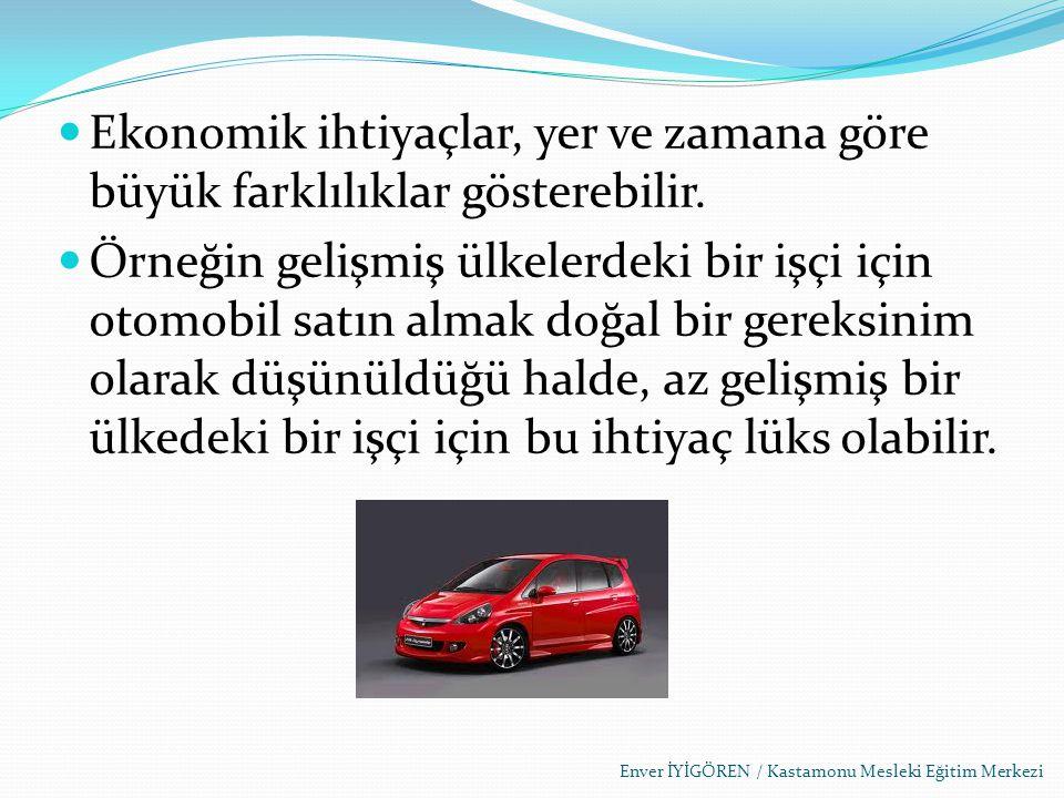 Ekonomik ihtiyaçlar, yer ve zamana göre büyük farklılıklar gösterebilir. Örneğin gelişmiş ülkelerdeki bir işçi için otomobil satın almak doğal bir ger