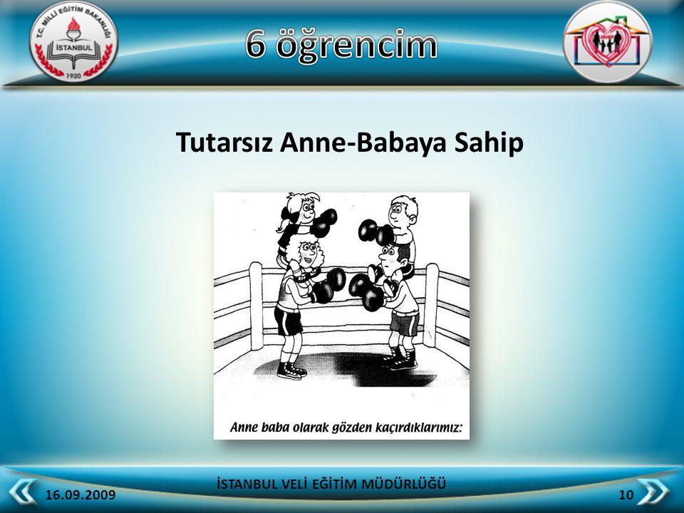 Tutarsız Anne-Babaya Sahip 16.09.2009 10 İSTANBUL VELİ EĞİTİM MÜDÜRLÜĞÜ