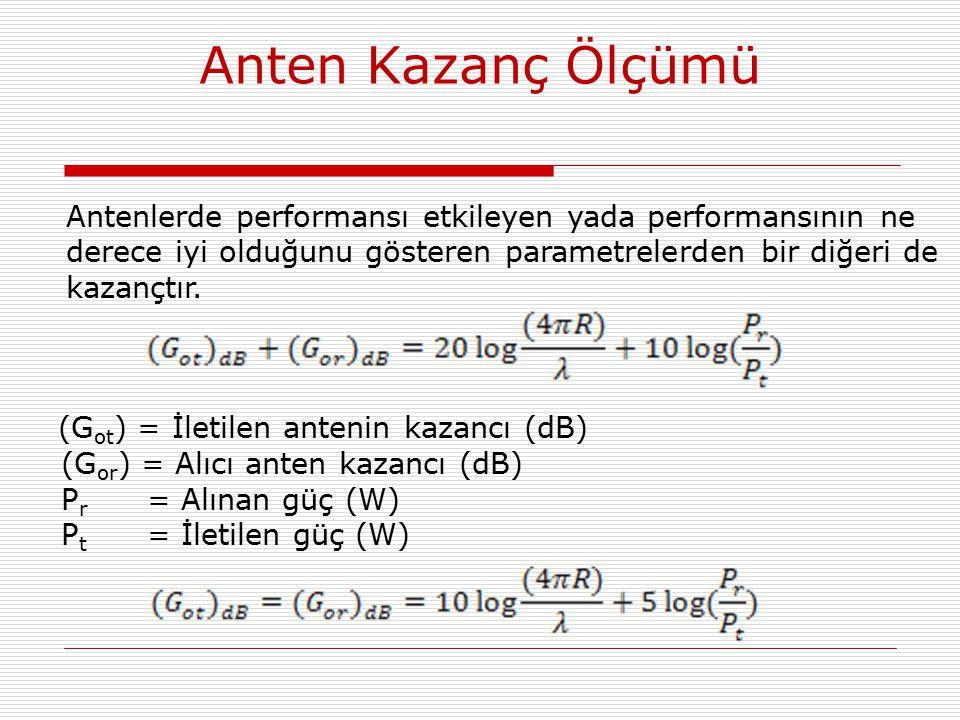 Anten Kazanç Ölçümü Antenlerde performansı etkileyen yada performansının ne derece iyi olduğunu gösteren parametrelerden bir diğeri de kazançtır. (G o