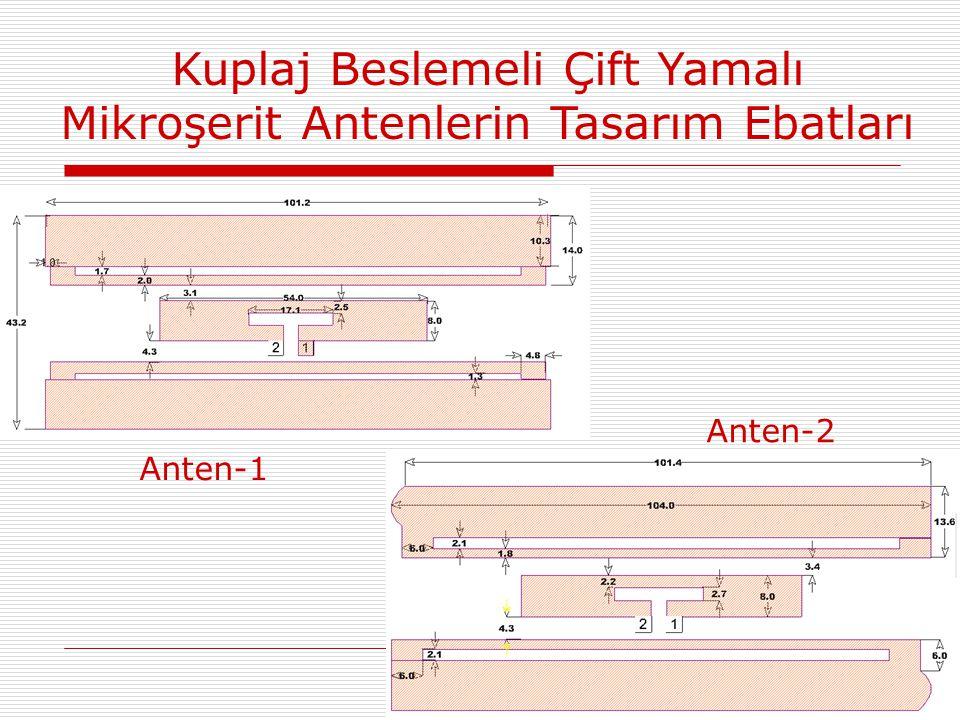 Kuplaj Beslemeli Çift Yamalı Mikroşerit Antenlerin Tasarım Ebatları Anten-1 Anten-2