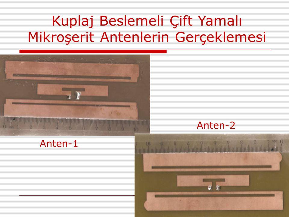 Kuplaj Beslemeli Çift Yamalı Mikroşerit Antenlerin Gerçeklemesi Anten-1 Anten-2