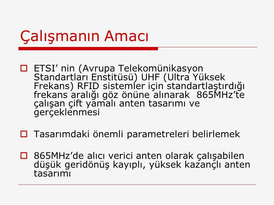Çalışmanın Amacı  ETSI' nin (Avrupa Telekomünikasyon Standartları Enstitüsü) UHF (Ultra Yüksek Frekans) RFID sistemler için standartlaştırdığı frekans aralığı göz önüne alınarak 865MHz'te çalışan çift yamalı anten tasarımı ve gerçeklenmesi  Tasarımdaki önemli parametreleri belirlemek  865M H z'de alıcı verici anten olarak çalışabilen düşük geridönüş kayıplı, yüksek kazançlı anten tasarımı