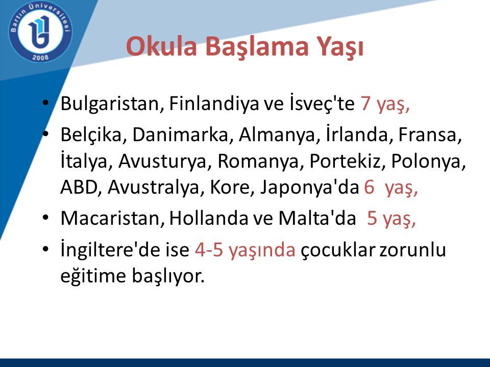 Okula Başlama Yaşı Bulgaristan, Finlandiya ve İsveç'te 7 yaş, Belçika, Danimarka, Almanya, İrlanda, Fransa, İtalya, Avusturya, Romanya, Portekiz, Polo
