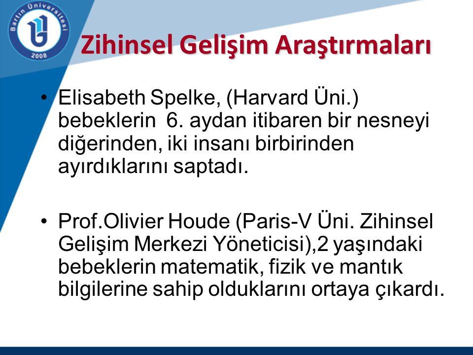 Zihinsel Gelişim Araştırmaları Zihinsel Gelişim Araştırmaları Elisabeth Spelke, (Harvard Üni.) bebeklerin 6. aydan itibaren bir nesneyi diğerinden, ik