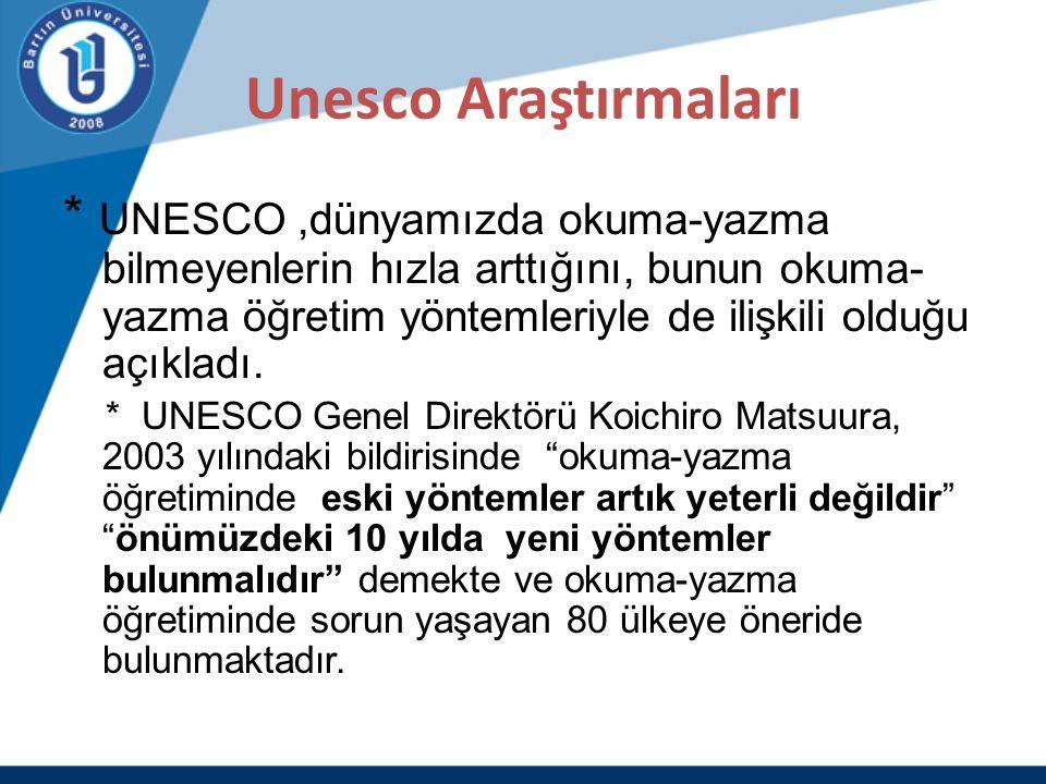 Unesco Araştırmaları * UNESCO,dünyamızda okuma-yazma bilmeyenlerin hızla arttığını, bunun okuma- yazma öğretim yöntemleriyle de ilişkili olduğu açıkla