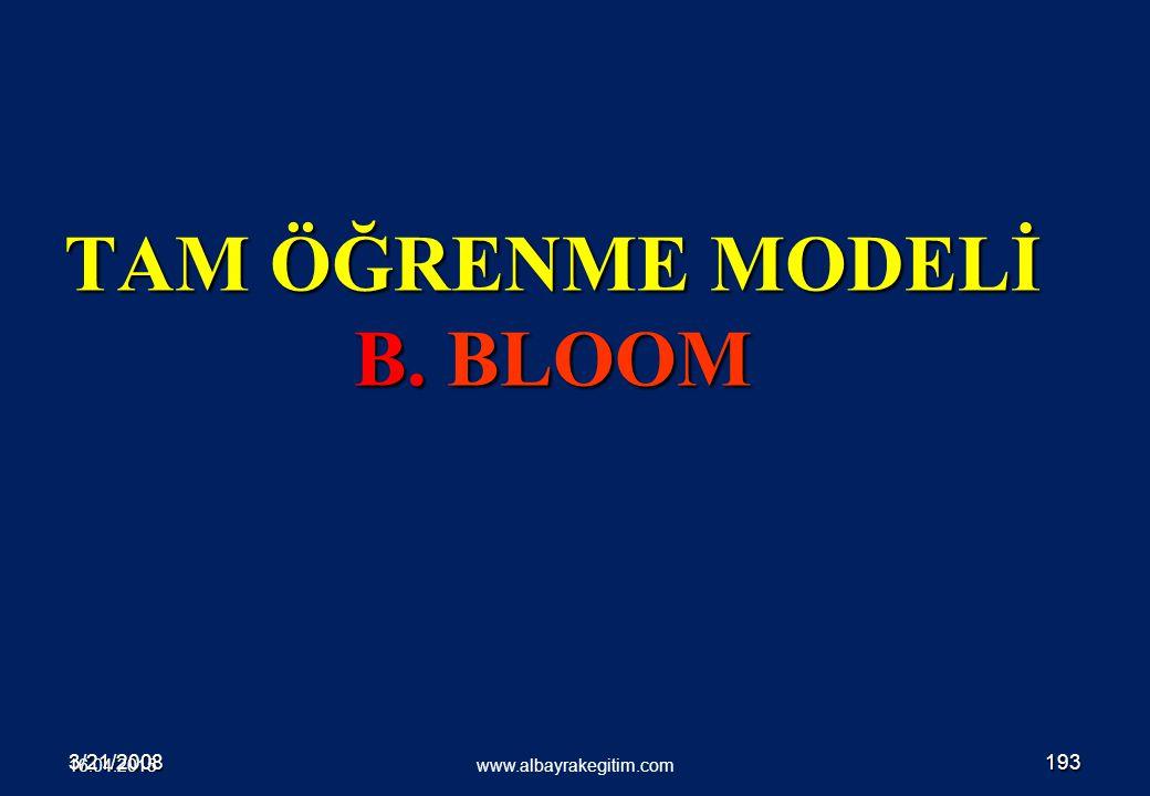 3/21/2008193 TAM ÖĞRENME MODELİ B. BLOOM www.albayrakegitim.com 16.04.2015