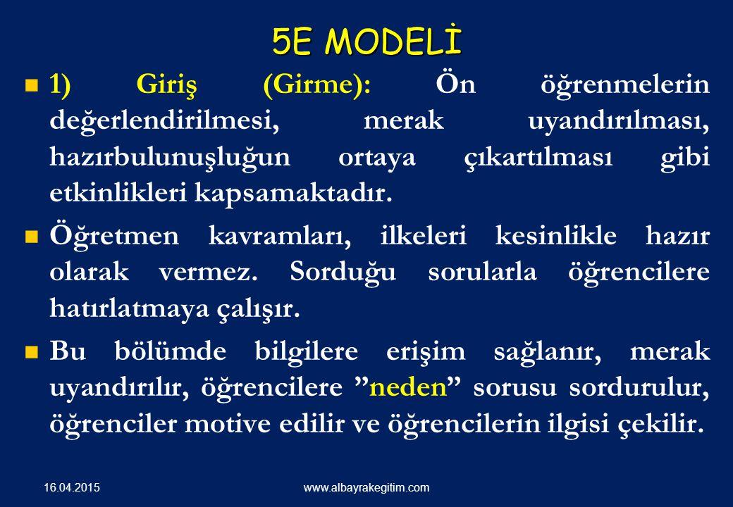 5E MODELİ 1) Giriş (Girme): Ön öğrenmelerin değerlendirilmesi, merak uyandırılması, hazırbulunuşluğun ortaya çıkartılması gibi etkinlikleri kapsamaktadır.