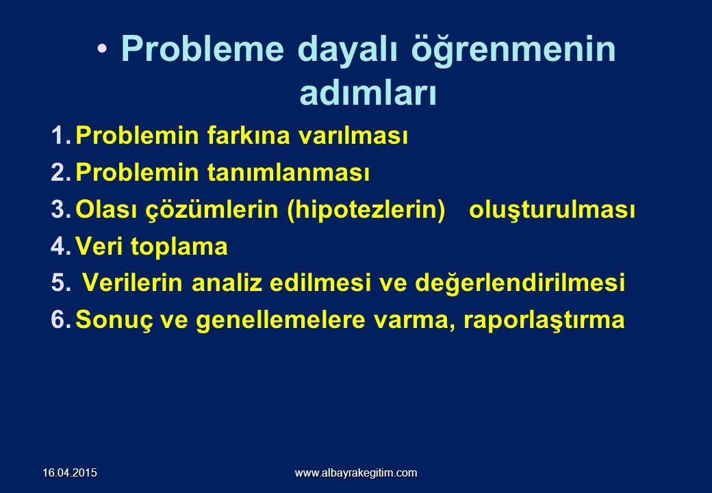 Probleme dayalı öğrenmenin adımları 1.Problemin farkına varılması 2.Problemin tanımlanması 3.Olası çözümlerin (hipotezlerin) oluşturulması 4.Veri topl