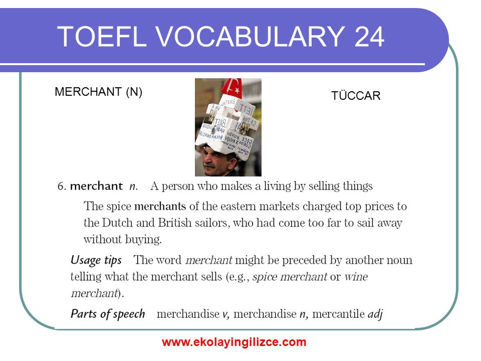 www.ekolayingilizce.com TOEFL VOCABULARY 24 PROPORTIONATELY (ADV) ORANLI BİR ŞEKİLDE