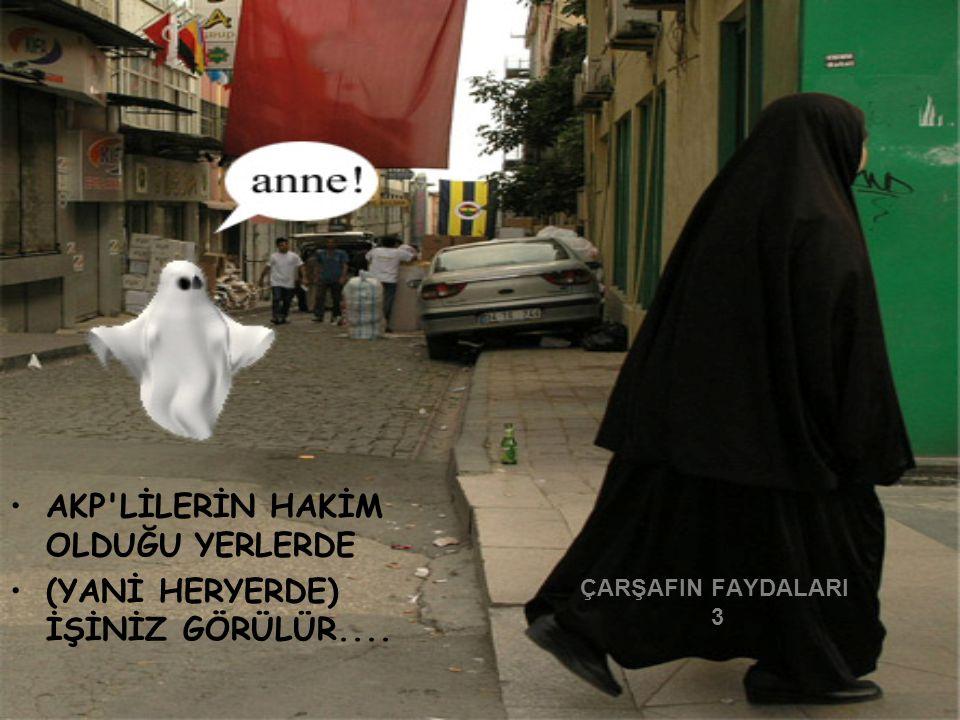 ÇARŞAFIN FAYDALARI 3 AKP'LİLERİN HAKİM OLDUĞU YERLERDE (YANİ HERYERDE) İŞİNİZ GÖRÜLÜR....