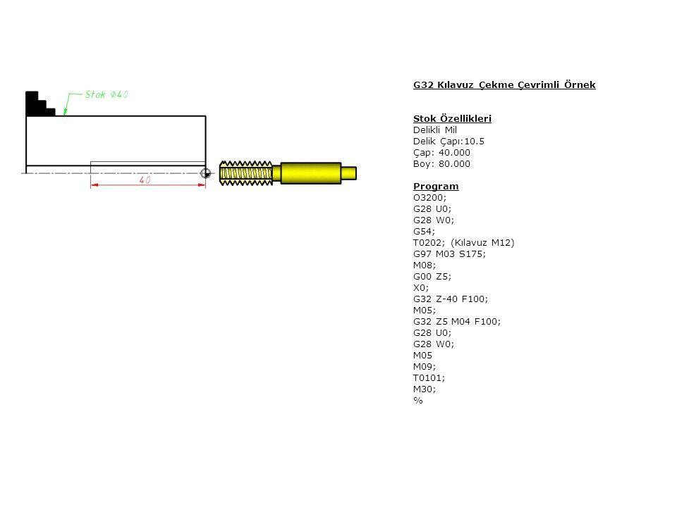 G32 Kılavuz Çekme Çevrimli Örnek Stok Özellikleri Delikli Mil Delik Çapı:10.5 Çap: 40.000 Boy: 80.000 Program O3200; G28 U0; G28 W0; G54; T0202; (Kıla