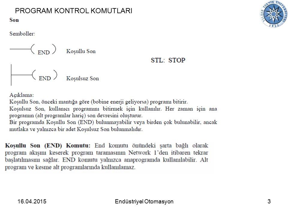 16.04.20153Endüstriyel Otomasyon PROGRAM KONTROL KOMUTLARI