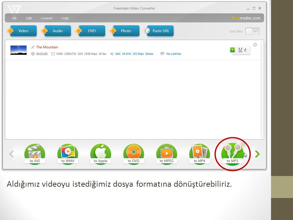 Aldığımız videoyu istediğimiz dosya formatına dönüştürebiliriz.
