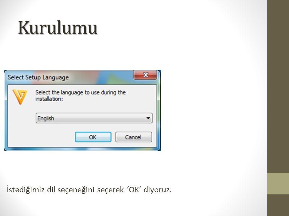 Kurulumu İstediğimiz dil seçeneğini seçerek 'OK' diyoruz.