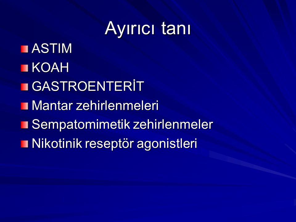 Ayırıcı tanı ASTIMKOAHGASTROENTERİT Mantar zehirlenmeleri Sempatomimetik zehirlenmeler Nikotinik reseptör agonistleri