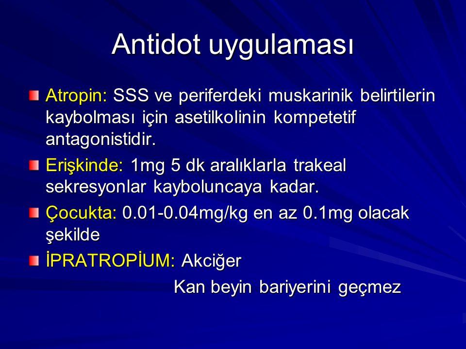 Antidot uygulaması Atropin: SSS ve periferdeki muskarinik belirtilerin kaybolması için asetilkolinin kompetetif antagonistidir. Erişkinde: 1mg 5 dk ar