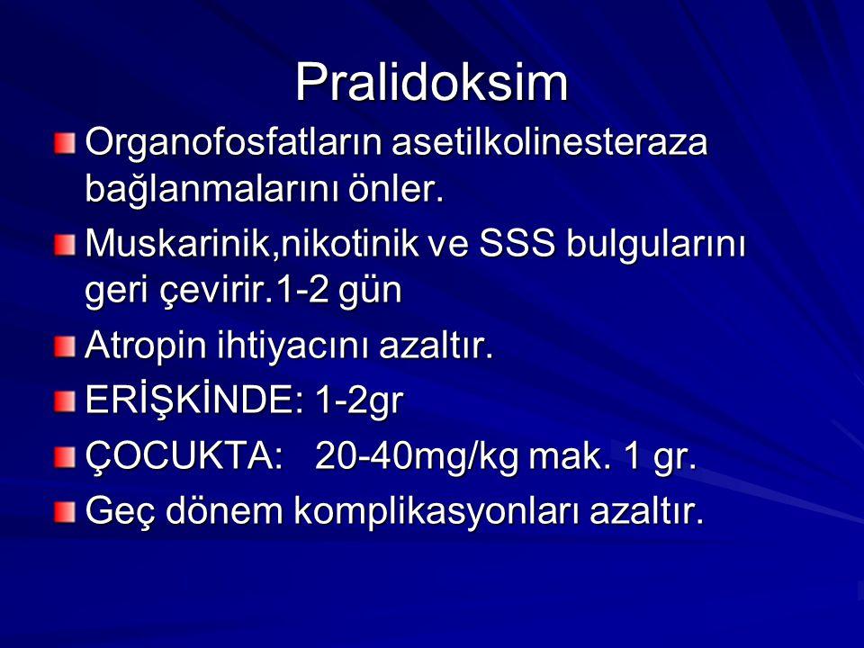 Pralidoksim Organofosfatların asetilkolinesteraza bağlanmalarını önler. Muskarinik,nikotinik ve SSS bulgularını geri çevirir.1-2 gün Atropin ihtiyacın