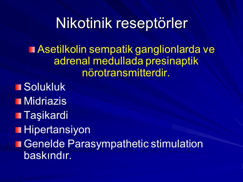 Nikotinik reseptörler Asetilkolin sempatik ganglionlarda ve adrenal medullada presinaptik nörotransmitterdir. Solukluk Midriazis Taşikardi Hipertansiy