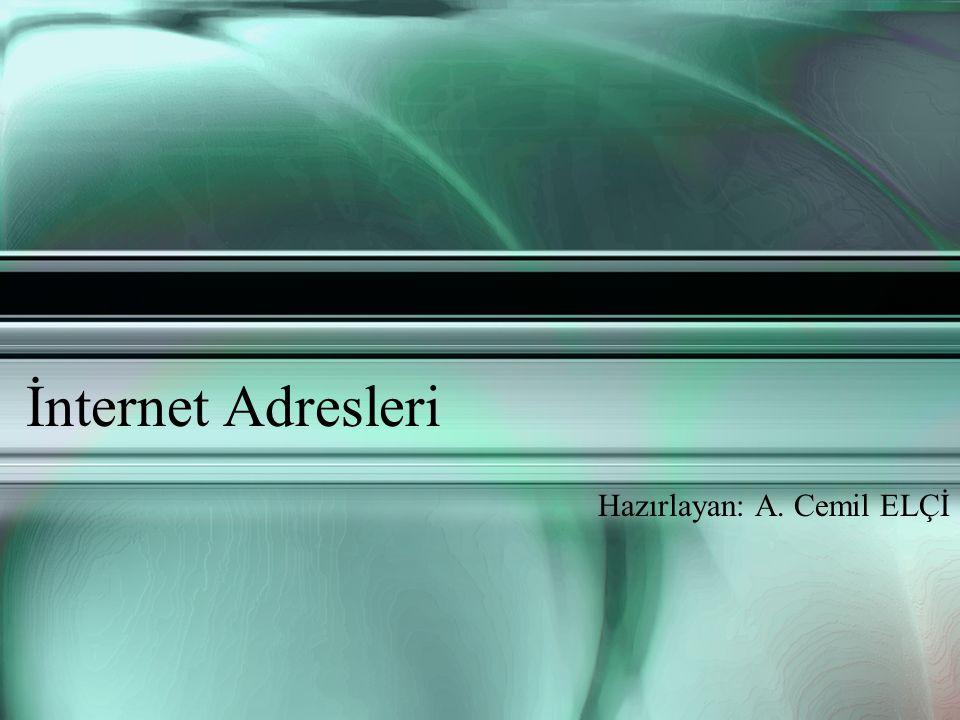 İnternet Adresleri Hazırlayan: A. Cemil ELÇİ