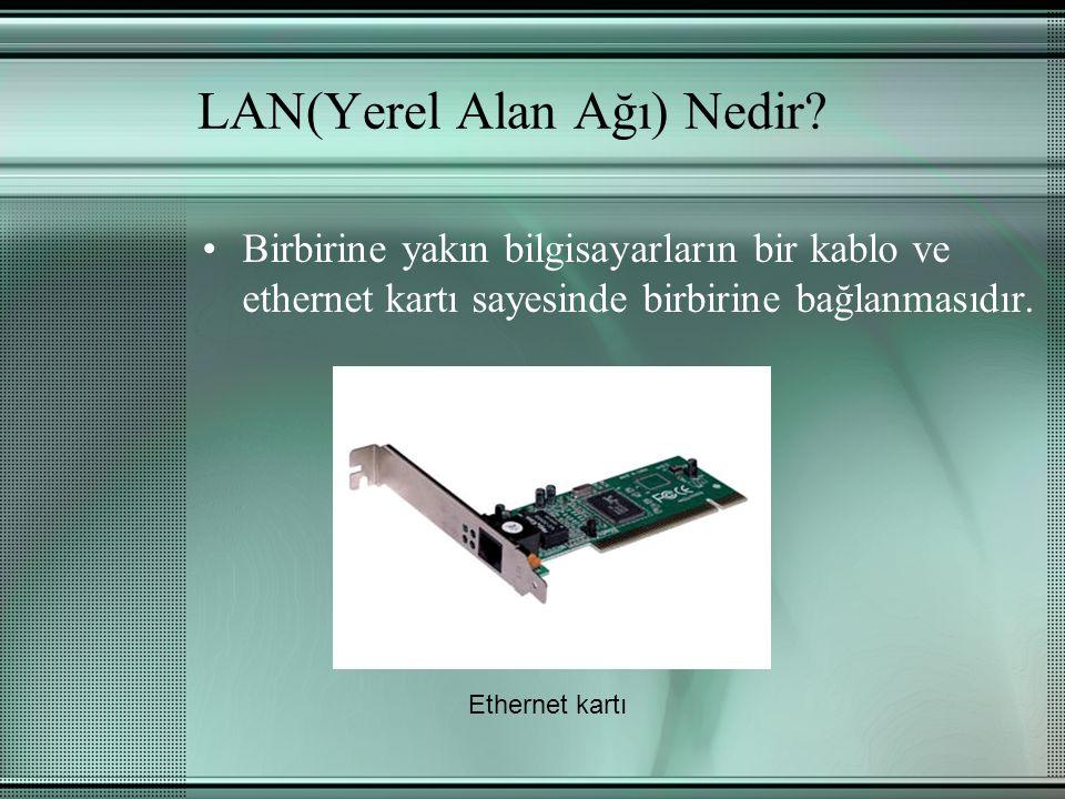 LAN(Yerel Alan Ağı) Nedir? Birbirine yakın bilgisayarların bir kablo ve ethernet kartı sayesinde birbirine bağlanmasıdır. Ethernet kartı