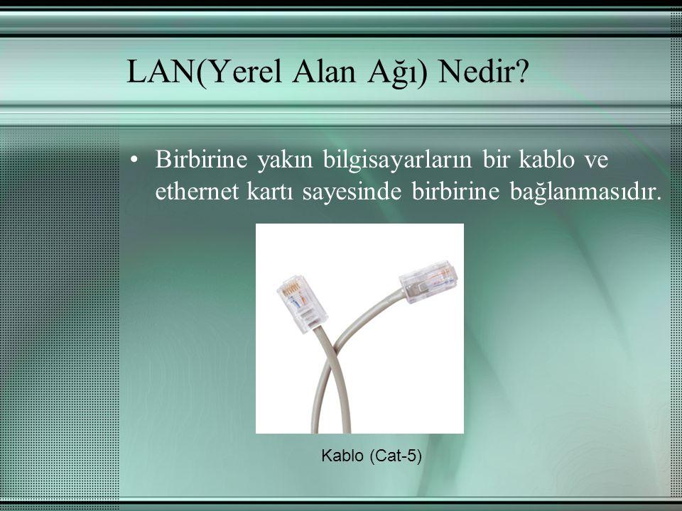 LAN(Yerel Alan Ağı) Nedir? Birbirine yakın bilgisayarların bir kablo ve ethernet kartı sayesinde birbirine bağlanmasıdır. Kablo (Cat-5)