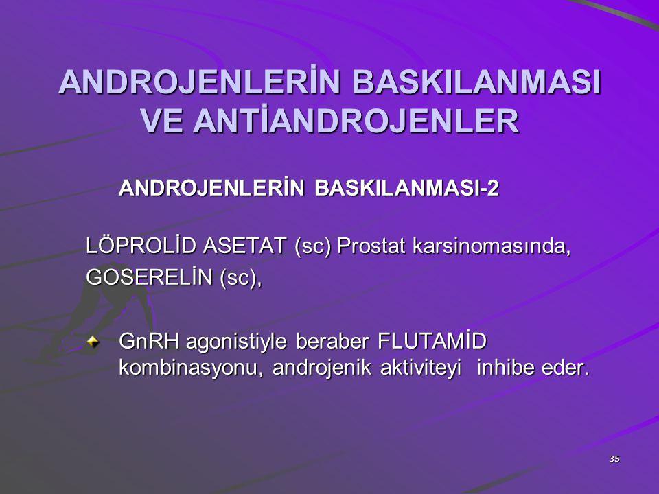 35 ANDROJENLERİN BASKILANMASI VE ANTİANDROJENLER ANDROJENLERİN BASKILANMASI-2 LÖPROLİD ASETAT (sc) Prostat karsinomasında, GOSERELİN (sc), GnRH agonis