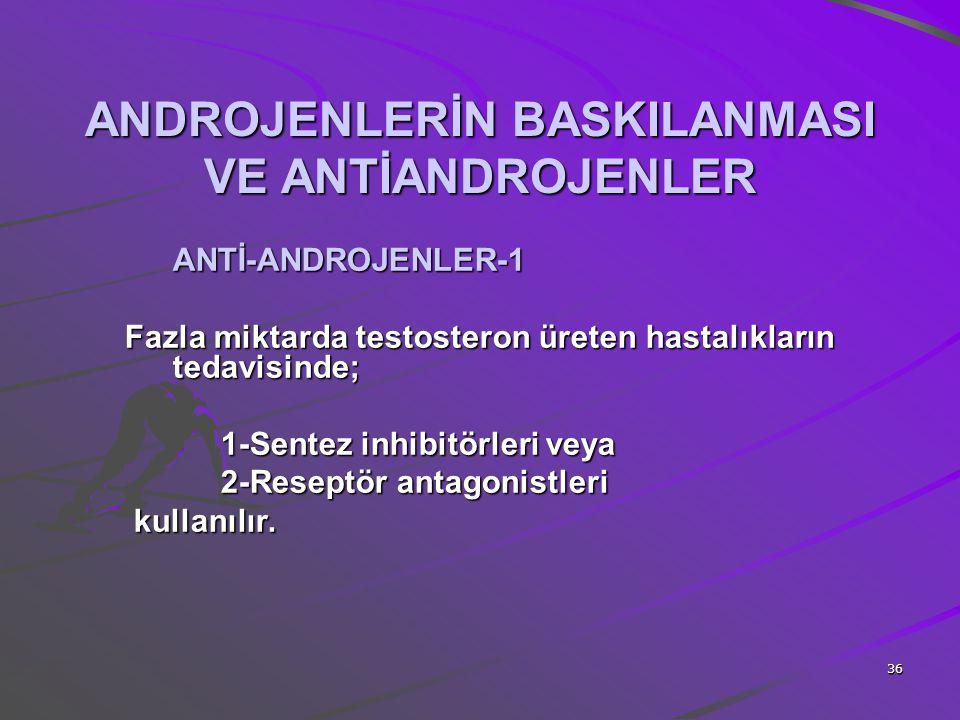 36 ANDROJENLERİN BASKILANMASI VE ANTİANDROJENLER ANTİ-ANDROJENLER-1 Fazla miktarda testosteron üreten hastalıkların tedavisinde; 1-Sentez inhibitörler