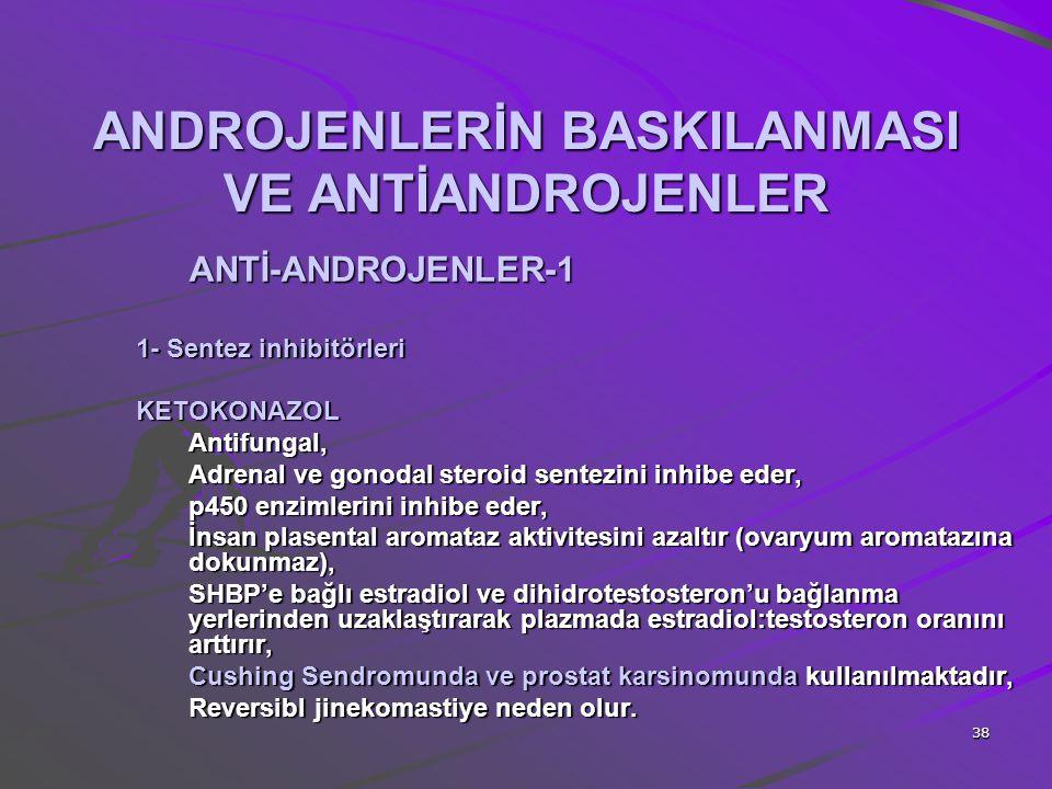 38 ANDROJENLERİN BASKILANMASI VE ANTİANDROJENLER ANTİ-ANDROJENLER-1 1- Sentez inhibitörleri KETOKONAZOLAntifungal, Adrenal ve gonodal steroid sentezin