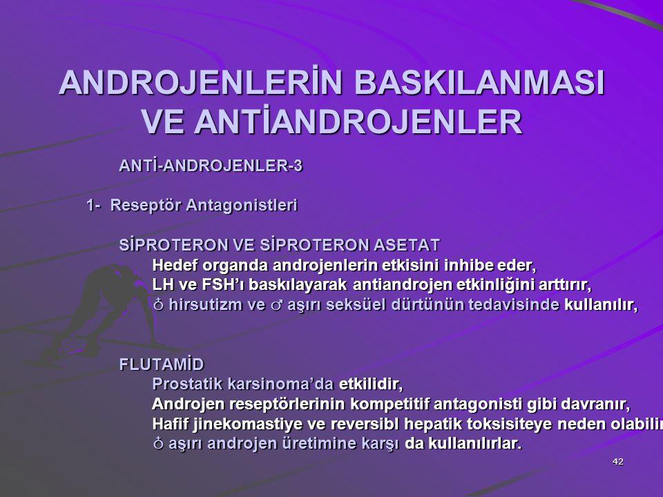 42 ANDROJENLERİN BASKILANMASI VE ANTİANDROJENLER ANTİ-ANDROJENLER-3 1- Reseptör Antagonistleri SİPROTERON VE SİPROTERON ASETAT Hedef organda androjenl
