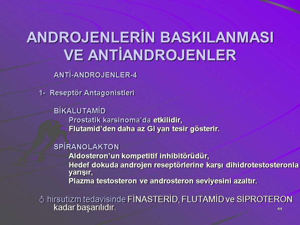 44 ANDROJENLERİN BASKILANMASI VE ANTİANDROJENLER ANTİ-ANDROJENLER-4 1- Reseptör Antagonistleri BİKALUTAMİD Prostatik karsinoma'da etkilidir, Flutamid'