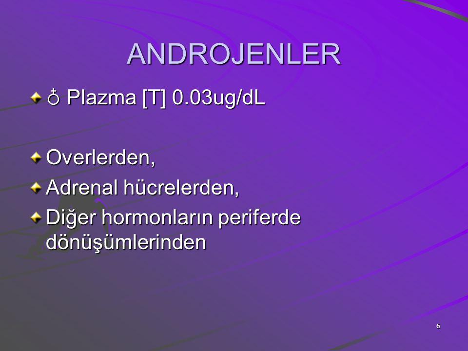6 ANDROJENLER ♁ Plazma [T] 0.03ug/dL Overlerden, Adrenal hücrelerden, Diğer hormonların periferde dönüşümlerinden