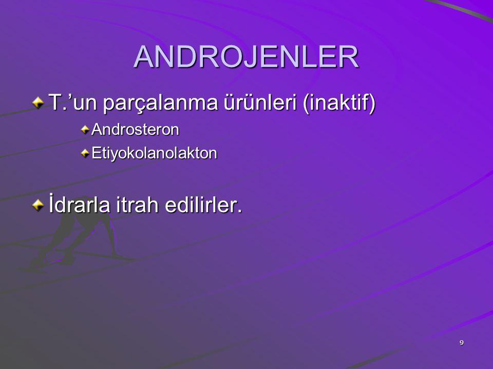 9 ANDROJENLER T.'un parçalanma ürünleri (inaktif) AndrosteronEtiyokolanolakton İdrarla itrah edilirler.
