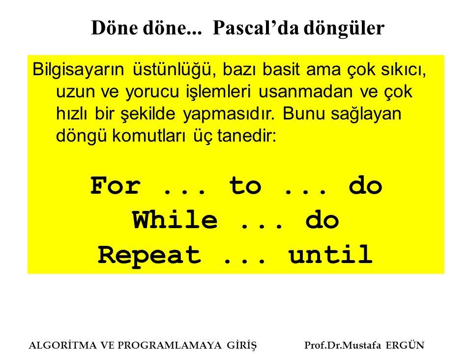 ALGORİTMA VE PROGRAMLAMAYA GİRİŞ Prof.Dr.Mustafa ERGÜN Program tektekyazmaa; Uses Crt; Begin Writeln('Döngü kur ); {çok sıkıcı!!!} Writeln( Döngü kur ); Readln; End.