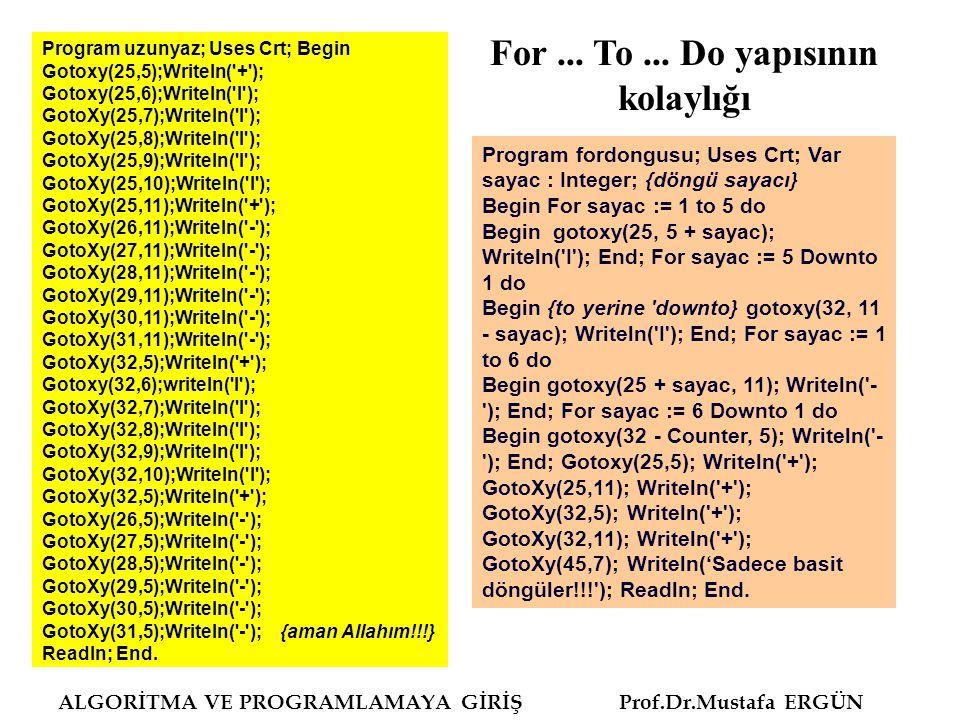 ALGORİTMA VE PROGRAMLAMAYA GİRİŞ Prof.Dr.Mustafa ERGÜN Program ForToDoyapisi1; uses wincrt; var i,j,son:integer; begin write ( Kaça kadar sayılar toplansın : ); readln (son); for i:=1 to son do begin j:=j+i; writeln ( Döngü: ,i, Toplam: ,j:10); end; writeln ( 1 ila ,son:4, arasındaki sayılar toplamı= ,j:8); end.
