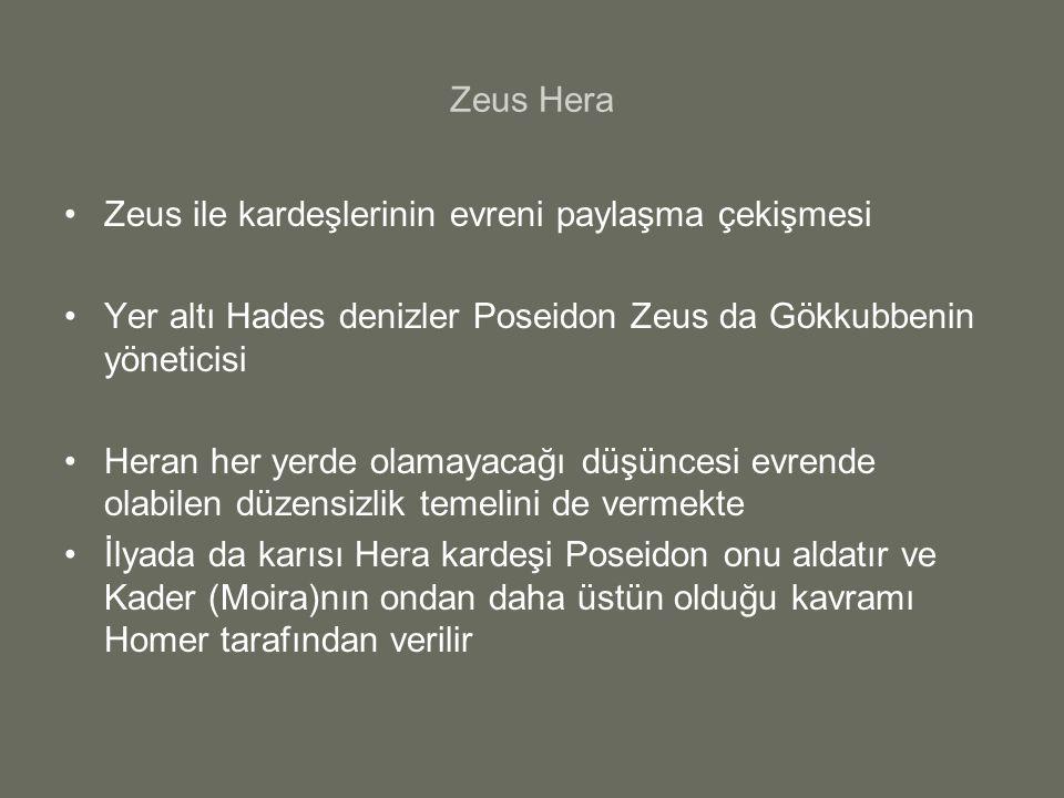 Zeus Hera Zeus ile kardeşlerinin evreni paylaşma çekişmesi Yer altı Hades denizler Poseidon Zeus da Gökkubbenin yöneticisi Heran her yerde olamayacağı