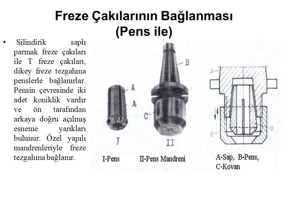 Freze Çakılarının Bağlanması (Pens ile) Silindirik saplı parmak freze çakıları ile T freze çakıları, dikey freze tezgahına penslerle bağlanırlar. Pens