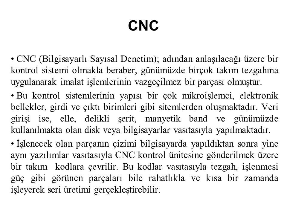 CNC CNC (Bilgisayarlı Sayısal Denetim); adından anlaşılacağı üzere bir kontrol sistemi olmakla beraber, günümüzde birçok takım tezgahına uygulanarak imalat işlemlerinin vazgeçilmez bir parçası olmuştur.