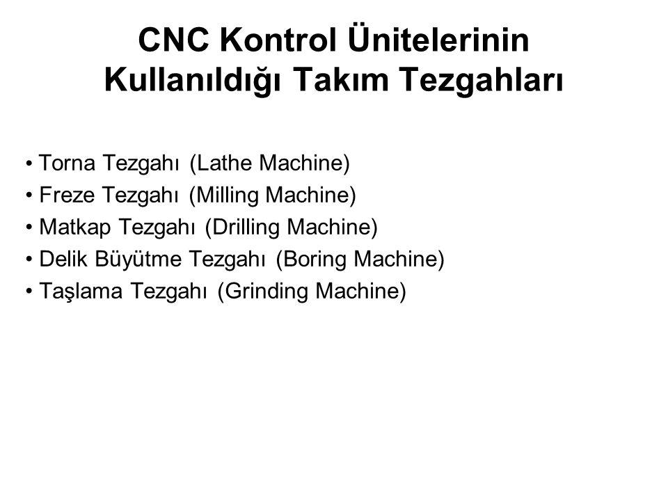 CNC Kontrol Ünitelerinin Kullanıldığı Takım Tezgahları Torna Tezgahı (Lathe Machine) Freze Tezgahı (Milling Machine) Matkap Tezgahı (Drilling Machine) Delik Büyütme Tezgahı (Boring Machine) Taşlama Tezgahı (Grinding Machine)