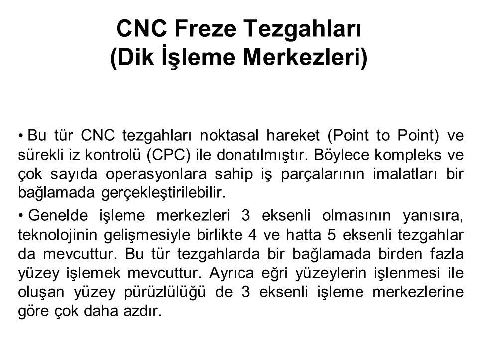 CNC Freze Tezgahları (Dik İşleme Merkezleri) Bu tür CNC tezgahları noktasal hareket (Point to Point) ve sürekli iz kontrolü (CPC) ile donatılmıştır.