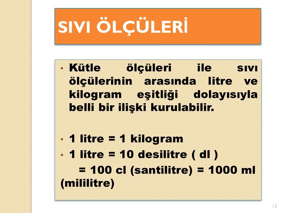 13 SIVI ÖLÇÜLER İ Kütle ölçüleri ile sıvı ölçülerinin arasında litre ve kilogram eşitliği dolayısıyla belli bir ilişki kurulabilir. 1 litre = 1 kilogr
