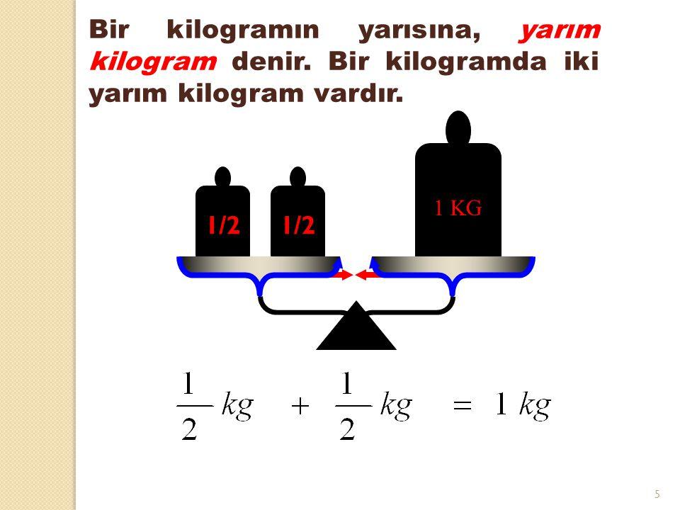 5 1/2 1 KG 1/2 Bir kilogramın yarısına, yarım kilogram denir. Bir kilogramda iki yarım kilogram vardır.