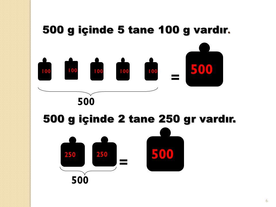 7 500gr 1 KG 500gr Bir kilogram eşittir, bin gram 1000gr = 250gr 1000 g içinde 2 tane 500 g vardır.