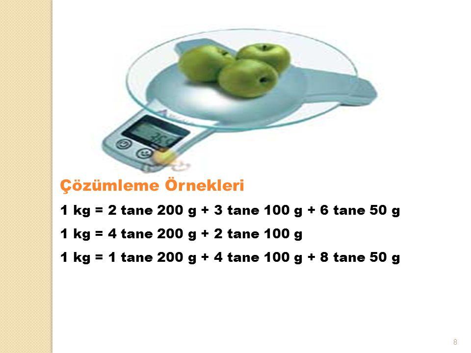 8 Çözümleme Örnekleri 1 kg = 2 tane 200 g + 3 tane 100 g + 6 tane 50 g 1 kg = 4 tane 200 g + 2 tane 100 g 1 kg = 1 tane 200 g + 4 tane 100 g + 8 tane