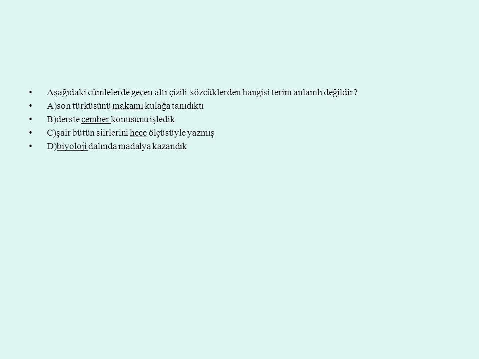 Aşağıdaki cümlelerde geçen altı çizili sözcüklerden hangisi terim anlamlı değildir? A)son türküsünü makamı kulağa tanıdıktı B)derste çember konusunu i
